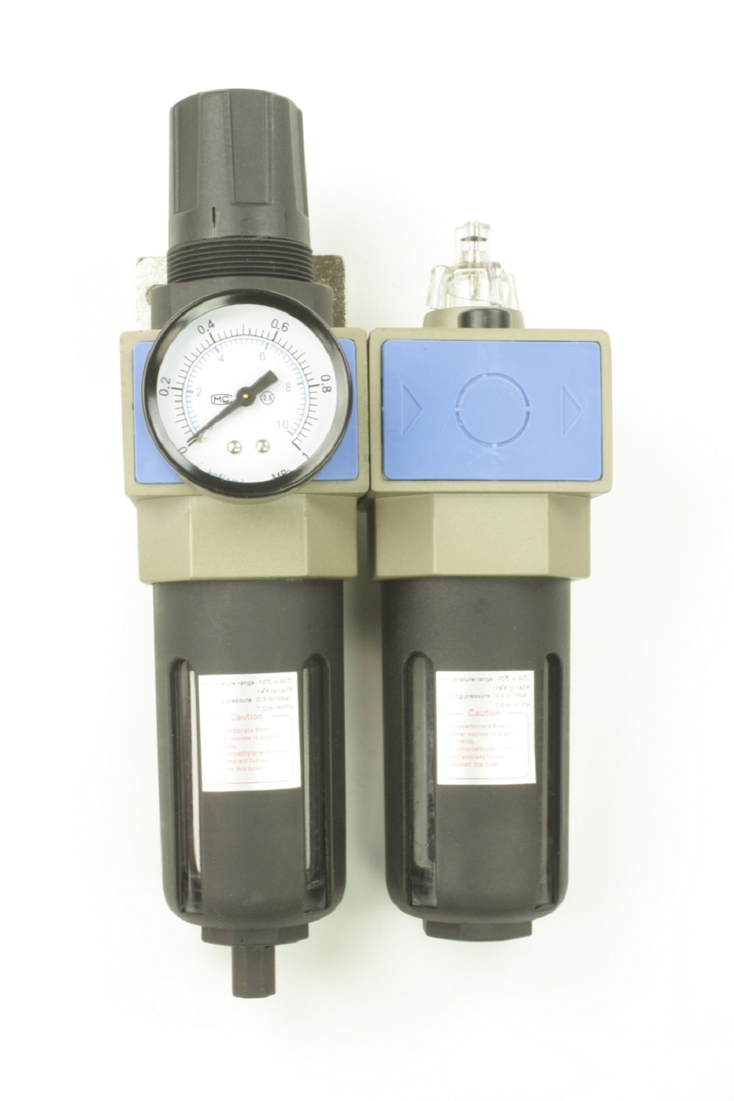"""Mini Druckluft Wartungseinheit 1//4/"""" Regelbar Anschlüsse Wasserabscheider Set"""